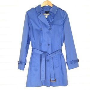 Land's End   Blue Cotton Long Trench-Coat